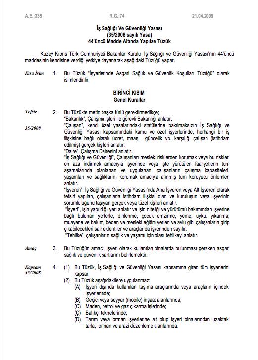 İşyerlerinde Asgari Sağlık ve Güvenlik Koşulları Tüzüğü